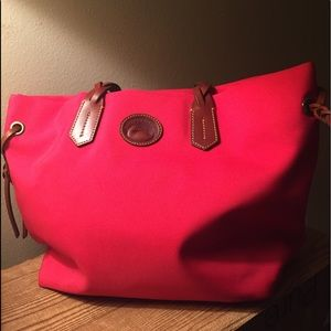 Dooney and bourke hot pink / red nylon tote